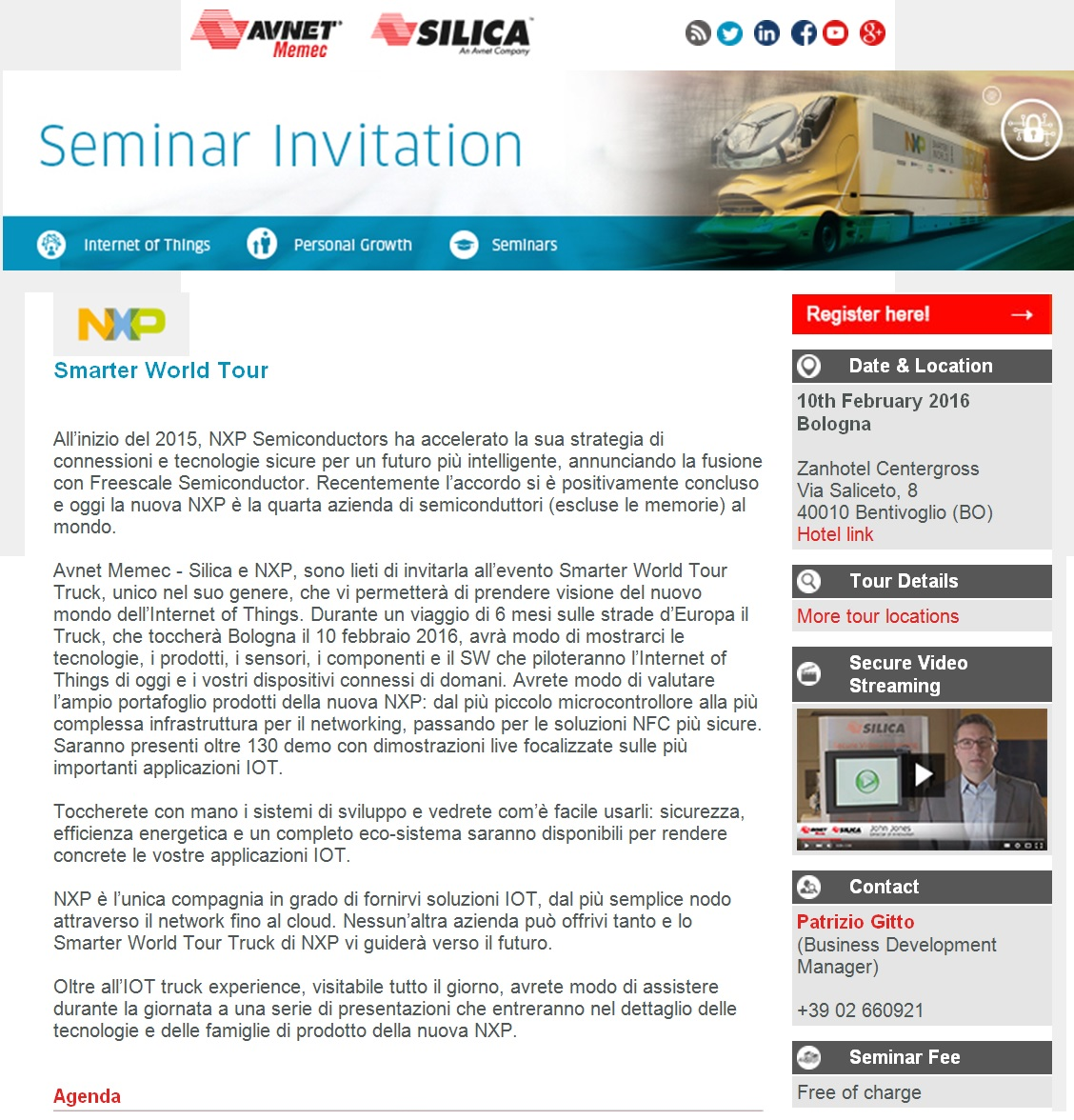 Avnet Memec - Silica | NXP Smarter World Tour Truck invitation - Italian advertising